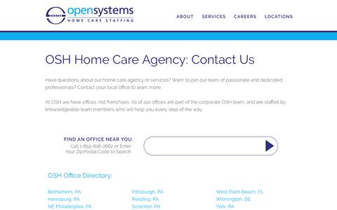 Screenshot of Contact Page Locations Page opensystemshealthcare.com - Home Care Agency Contact| Open Systems Healthcare - captured Sept. 21, 2018