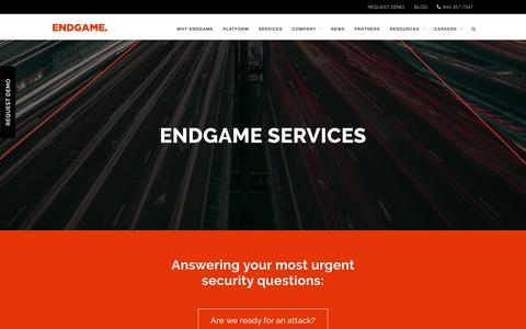 Screenshot of Services Page endgame.com - Endgame Services | Endgame - captured July 25, 2017