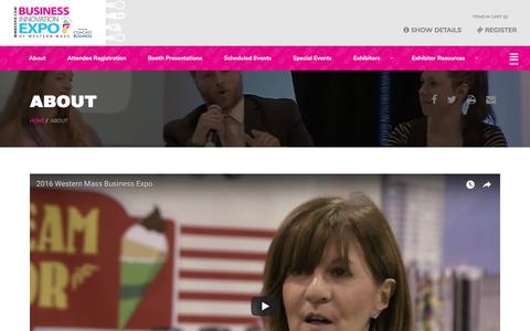 Screenshot of About Page wmbexpo.com - About :: Business Innovation Expo of Western Mass - captured Oct. 20, 2017