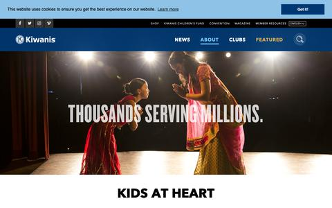Screenshot of About Page kiwanis.org - About - captured Oct. 15, 2018
