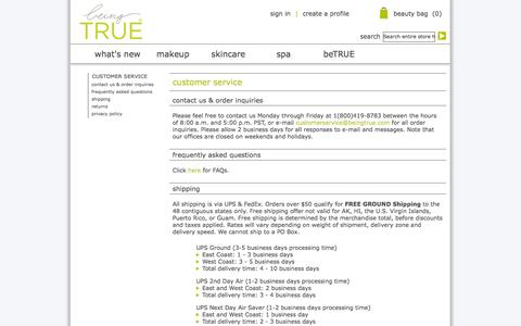 Screenshot of Privacy Page Support Page beingtrue.com - Customer Service - captured Sept. 30, 2014