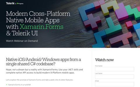 Screenshot of Landing Page telerik.com - Modern X-Platform Apps with Xamarin.Forms & Telerik UI - captured Aug. 19, 2016
