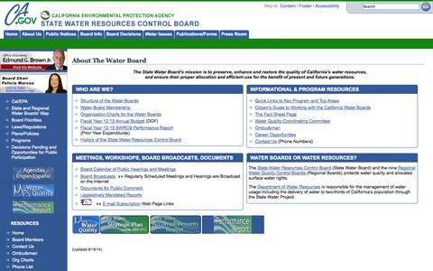 Screenshot of About Page ca.gov - State Water Resources Control Board - captured Sept. 13, 2014
