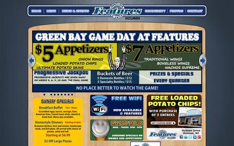 Screenshot of Home Page featuresinholmen.com - Features Sports Bar & Grill | Holmen, WI - captured Oct. 5, 2014