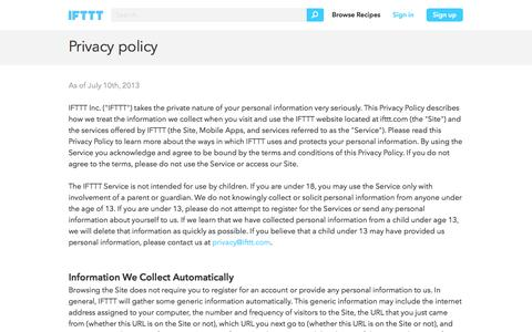 Privacy Policy - IFTTT