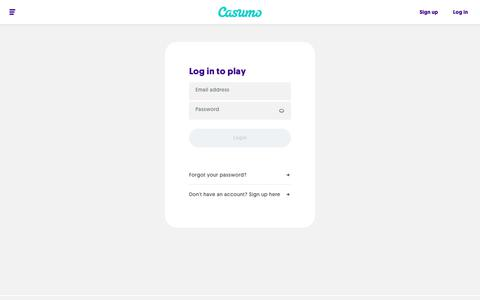 Screenshot of Login Page casumo.com - Casumo Login - Login in to your Casumo account and start playing today - captured Sept. 15, 2019