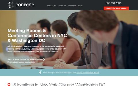 Screenshot of Home Page convene.com - Convene: Meeting Rooms & Conference Centers in NYC & DC - captured Sept. 18, 2015
