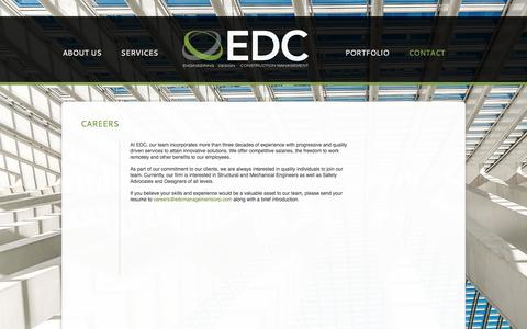 Screenshot of Jobs Page edcmanagementcorp.com - CAREERS - captured May 12, 2017