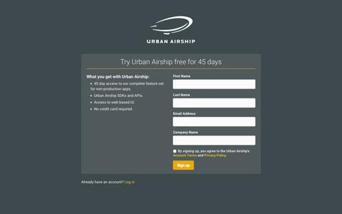 Screenshot of Trial Page urbanairship.com - Urban Airship - Registration - captured Nov. 20, 2015