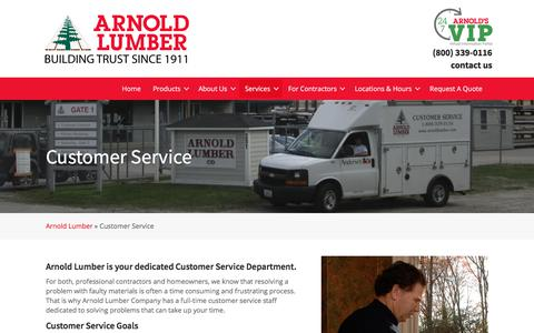 Screenshot of Services Page Support Page arnoldlumber.com - Customer Service - Arnold Lumber - captured Oct. 30, 2019