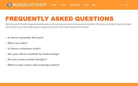 Screenshot of FAQ Page agnusgiftshop.com - FAQ – Agnus Giftshop - captured July 29, 2018