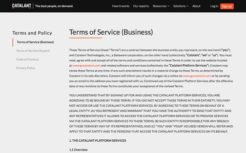 Terms of Service (Business) | Catalant