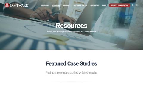 Screenshot of Case Studies Page loftware.com - Resources Page - Case Studies - captured Jan. 26, 2019
