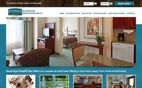 Screenshot of Home Page sbsglenmills.com - Staybridge Suites Wilmington Brandywine Valley Hotel | Hotel Near Philadelphia International Airport - captured Oct. 7, 2014