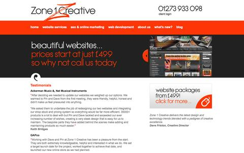 Screenshot of Testimonials Page zone1creative.co.uk - Testimonials | Website Design Agency Brighton, Sussex, Content Management, Drupal Development, E-commerce - captured Sept. 24, 2014