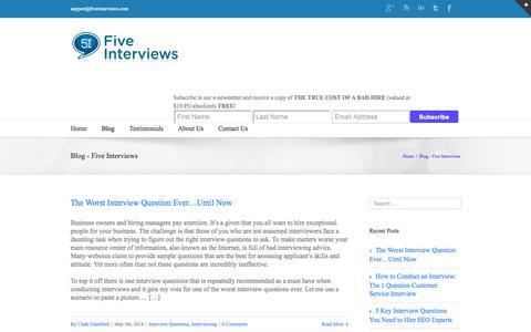Screenshot of Blog fiveinterviews.com - Blog - Five Interviews - captured Sept. 30, 2014