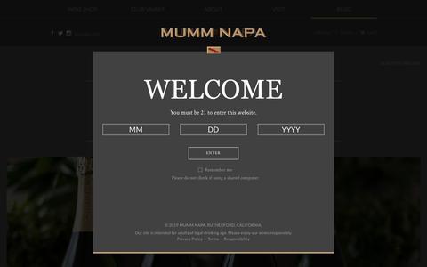 Screenshot of Blog mummnapa.com - Mumm Napa Blog | California Sparkling Wine - captured June 14, 2019