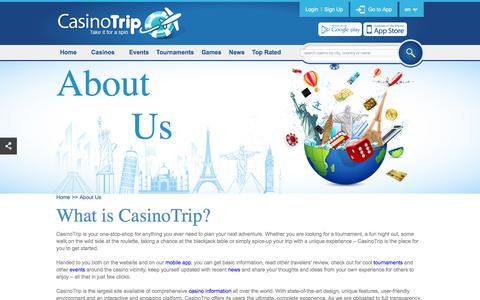 Screenshot of About Page casinotrip.co - About CasinoTrip - website and Mobile App to gambling tourism - captured Dec. 21, 2015