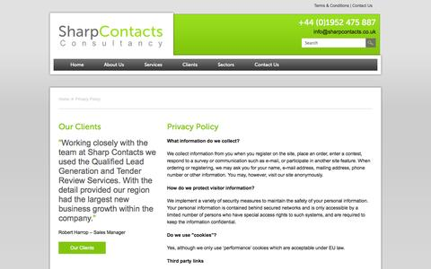 Screenshot of Privacy Page sharpcontacts.co.uk - Privacy Policy | Sharp Contacts - captured Oct. 9, 2014