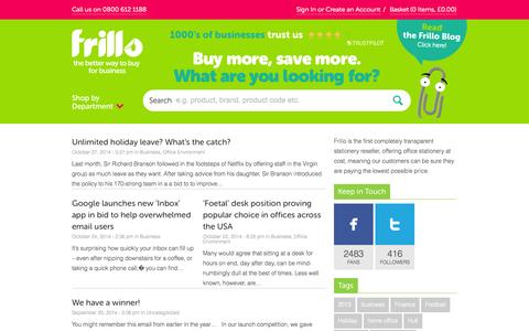 Screenshot of Blog frillo.co.uk - Business News, Finance & Office Supplies News for Small, SME or Large Businesses - captured Oct. 29, 2014