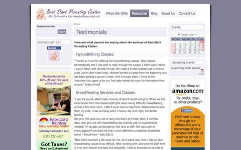 Screenshot of Testimonials Page babiesbeststart.com - Parent Testimonials about Best Start Parenting Center, Professional Testimonials, Testimonials about Childbirth Classes in Lynchburg | Best Start Parenting Center - captured Oct. 5, 2014