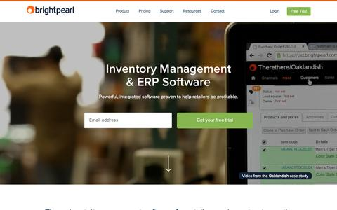 Screenshot of Home Page brightpearl.com - Inventory Management & ERP Software | Brightpearl - captured Jan. 26, 2016