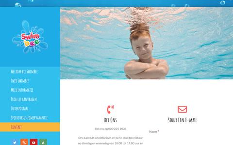 Screenshot of Contact Page swimbee.nl - Contact - Zwemschool SwimBee - captured Nov. 14, 2018