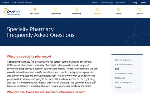 Screenshot of FAQ Page avella.com - Specialty Pharmacy FAQ | Pharmacy Patient FAQ | Avella FAQ - captured Sept. 24, 2014