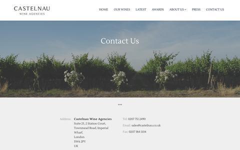 Screenshot of Contact Page castelnau.co.uk - Castelnau Wine Agencies - captured Sept. 27, 2018