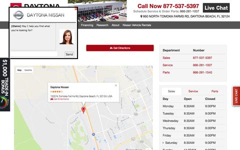 Screenshot of Hours Page daytonanissan.com - Daytona Nissan | Hours & Directions - captured June 4, 2017