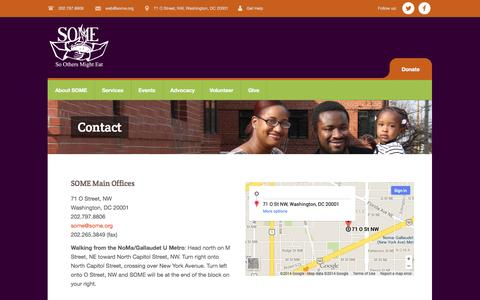 Screenshot of Contact Page some.org - Contact | So Others Might Eat - captured Sept. 23, 2014