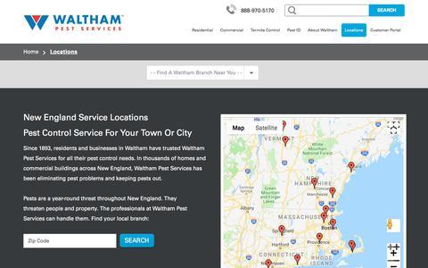 Screenshot of Locations Page walthamservices.com - Pest Control New England: MA, CT, Maine, Rhode Island & VT - captured Aug. 16, 2018