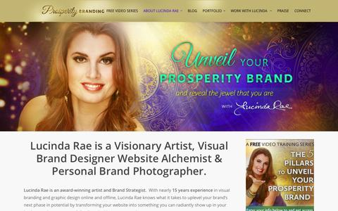 Screenshot of About Page prosperitybranding.com - About Lucinda Rae - captured Oct. 3, 2014