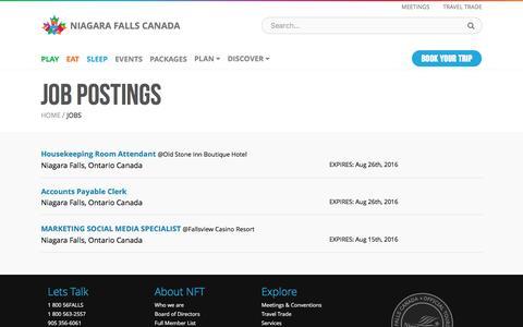 Screenshot of Jobs Page niagarafallstourism.com - Job Postings - Jobs | Niagara Falls Canada - captured Aug. 13, 2016