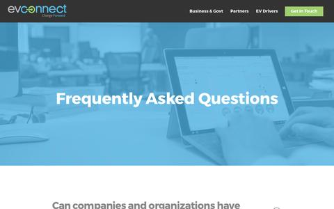 Screenshot of FAQ Page evconnect.com - FAQs - EV Connect - captured May 9, 2017