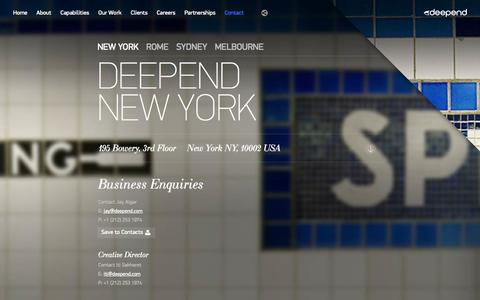 Screenshot of Contact Page deepend.com.au - Contact | Digital Agency - captured Sept. 19, 2014