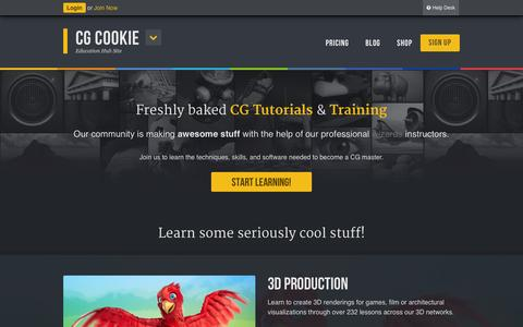 Screenshot of Home Page cgcookie.com - CG Cookie - Education Hub Site - captured Sept. 18, 2014