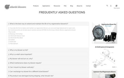 Screenshot of FAQ Page atlanticblowers.com - Industrial Blowers | Atlantic Blowers | Frequently Asked Questions - captured Aug. 1, 2019