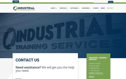 Screenshot of Contact Page its-training.com - Contact Us | Get a Quote | Ask a Question | Industrial Training Services - captured May 23, 2018