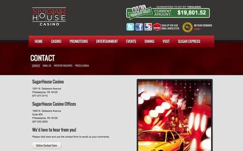 Screenshot of Contact Page sugarhousecasino.com - SugarHouse Casino Contact | SugarHouse Casino - captured Sept. 30, 2014