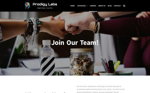 Screenshot of Jobs Page prodigylabs.net - Careers — Prodigy Labs - captured Dec. 16, 2018