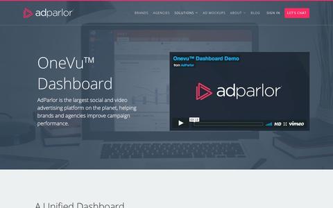 Screenshot of adparlor.com - OneVu™ Dashboard   AdParlor - captured April 11, 2017