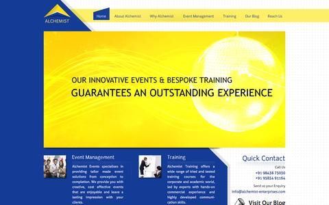 Screenshot of Home Page alchemist-enterprises.com - Home | Alchemist Events & Training - Coimbatore, Tamil Nadu, India based Corporate Event Management firm. - captured Sept. 30, 2014