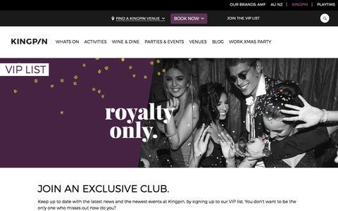 Screenshot of Signup Page kingpinbowling.com.au - VIP List | Kingpin - captured Nov. 27, 2016