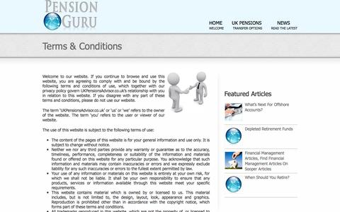 Screenshot of Terms Page ukpensionsadvisor.co.uk - Terms & Conditions - UKP Adviser - captured Sept. 30, 2014