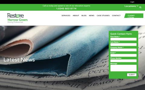 Screenshot of Press Page harrowgreen.com - The Latest News from Business Relocation Experts - Harrow Green - captured July 16, 2018