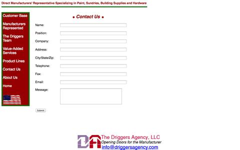 Screenshot of Contact Page driggersagency.com - Contact Us - Driggers Agency: Manufacturers Reps for Paint Hardware Building Supplies Sundries in Virginia, North and South Carolina - captured Oct. 6, 2014