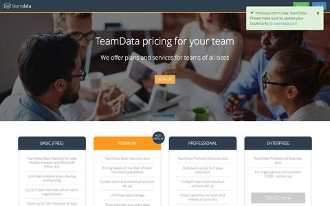 Screenshot of Pricing Page personal.com - Pricing | TeamData - captured June 17, 2016
