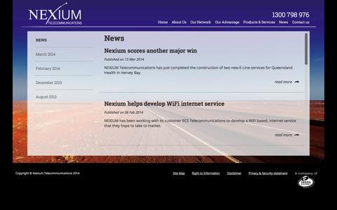 Screenshot of Press Page nexium.net.au - Nexium - News - captured Oct. 26, 2014