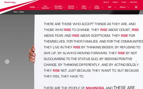 Screenshot of Jobs Page mahindra.com - Careers & Job Opportunities at Mahindra Rise - captured Nov. 5, 2015